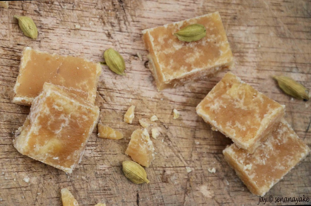 Pieces of potato fudge and cardamom