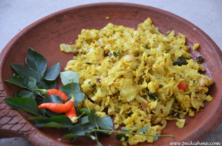 Sri lankan food healthy food recipes peckish me sri lankan cabbage mallum aka gowa mallum forumfinder Choice Image